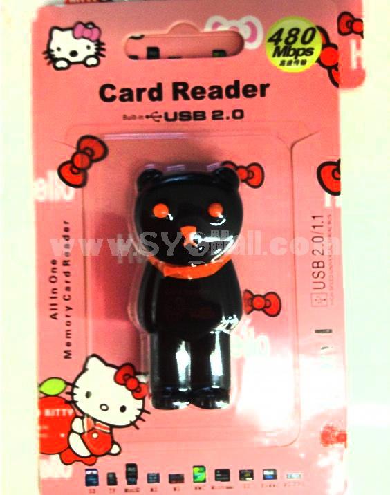 Cartoon Bear Shape 4-in-1 USB Memory Card Reader