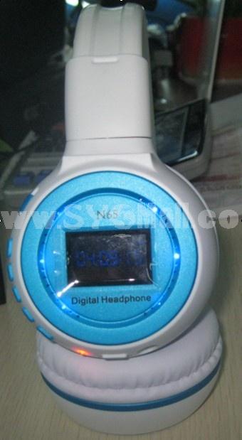 Plug-in card designed MP3 FM wireless headphone N65