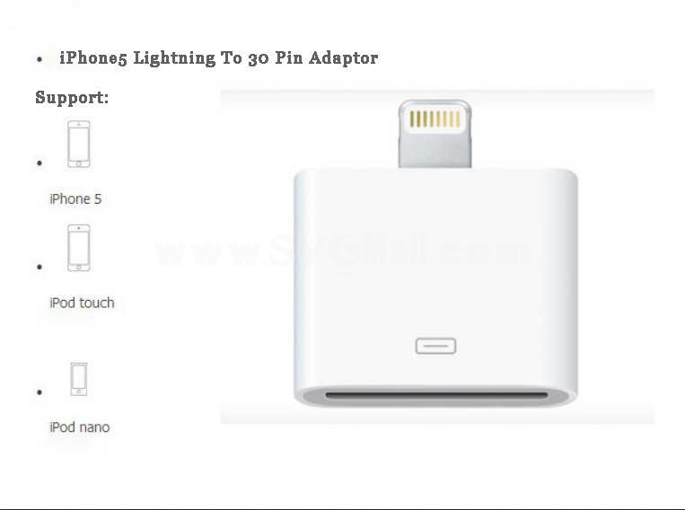 Lightning  8 Pin To 30 Pin Adaptor for iPhone 5