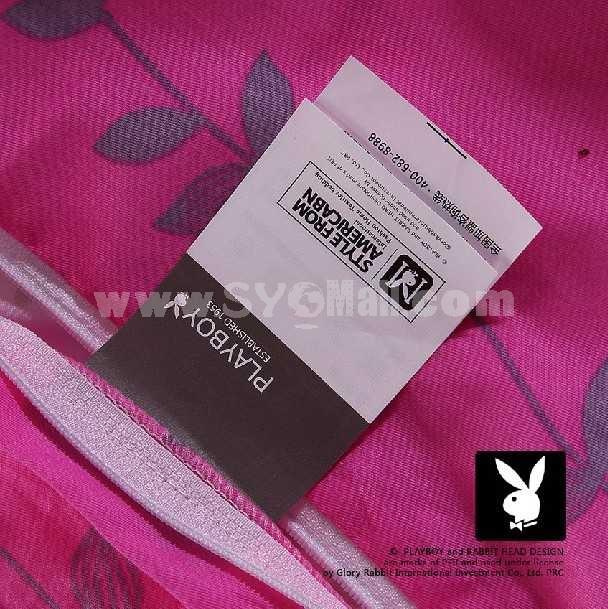 PLAYBOY 4 piece pink flower bedding set