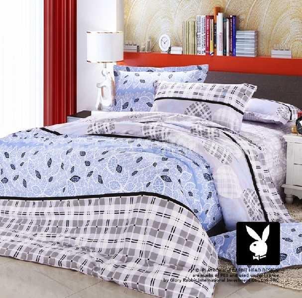PLAYBOY 4 piece blue plain color bedding set
