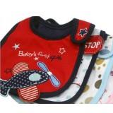 Wholesale - Baby Waterproof Three Layered Cartoon Cotton Baby Feeding Bibs