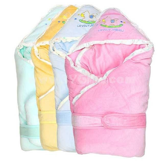 Winter Cartoon Solid Color Velvet Infant Wrap