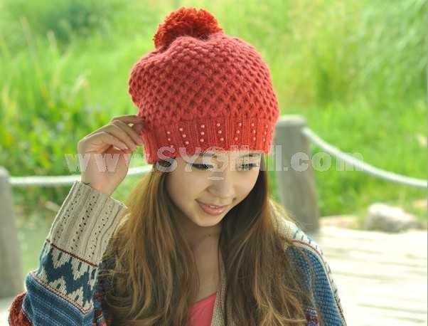 Women's winter pearl warm hat