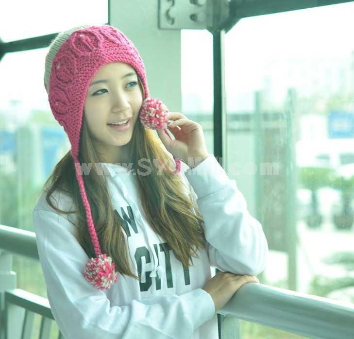 Two braids winter warm hat