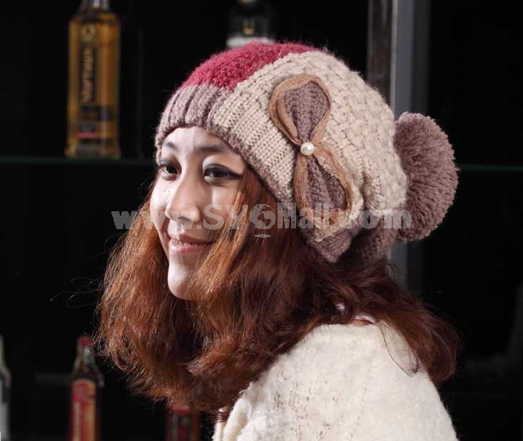 Korean style lace bowknot warm hat