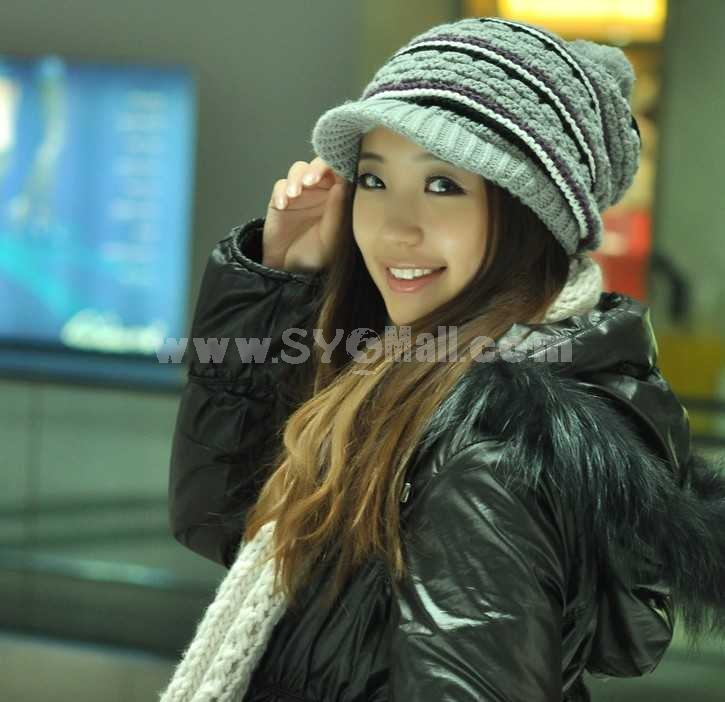 Fashion winter warm hat with brim