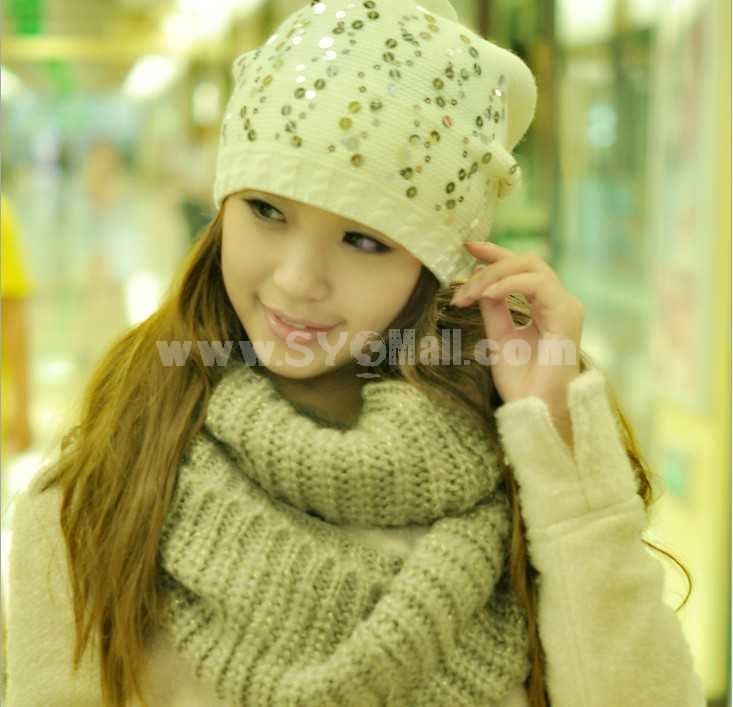 Korean style acrylic straight knitted warm hat