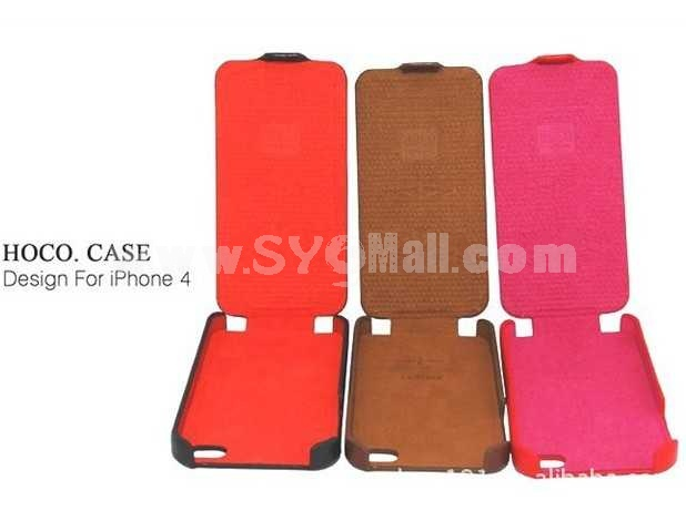 Vertical Lift Leather Pattern Protective Case for iphone 4/4S