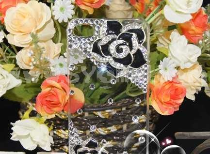 Camellia Pattern Rhinestone Handmade Protective Case for iphone4/4s