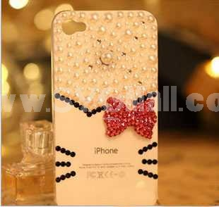 Korea Stylish Cat Pattern Rhinestone Handmade Protective Case for iphone4/4s