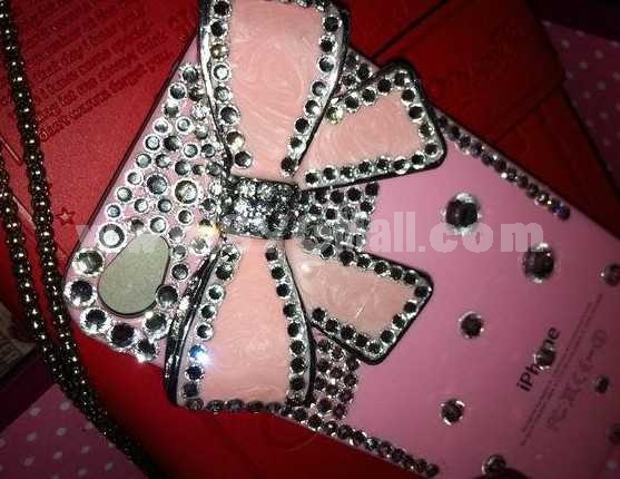 Bowknot Pattern Rhinestone Handmade Protective Case for iphone4/4s