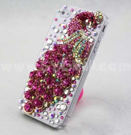 Luxurious Peacock Pattern Rhinestone Handmade Protective Case for iphone4/4s