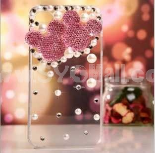 Mickey Pattern Rhinestone Handmade Protective Case for iphone4/4s