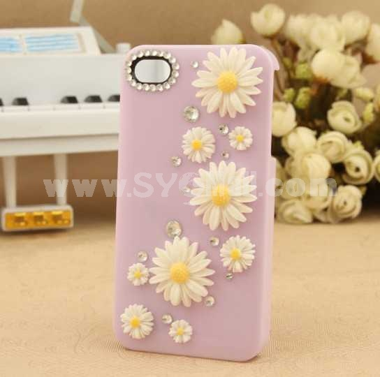 Daisy Pattern Rhinestone Handmade Protective Case for iphone4/4s