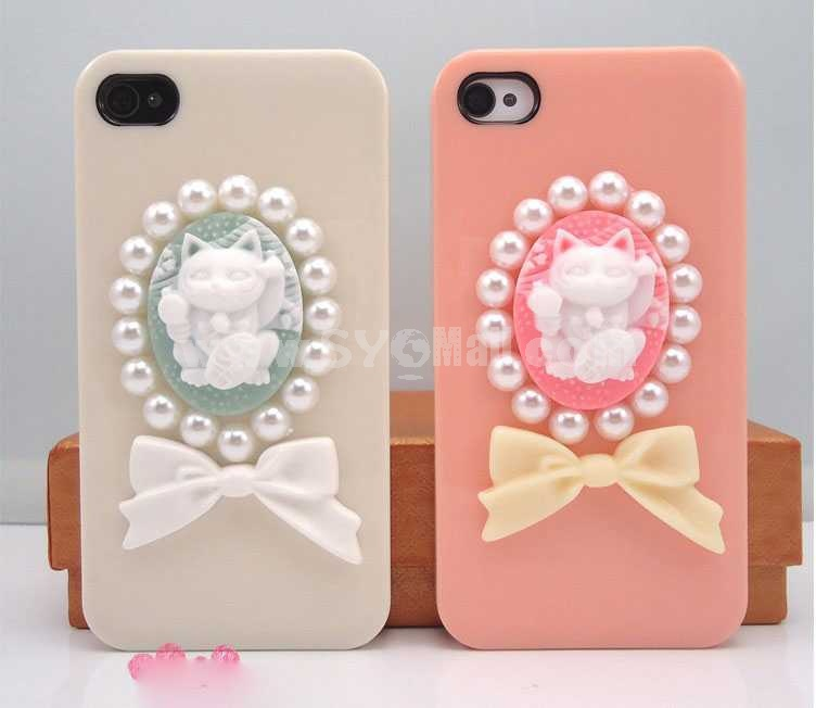 Lovely Cat Pattern Rhinestone Handmade Protective Case for iphone4/4s