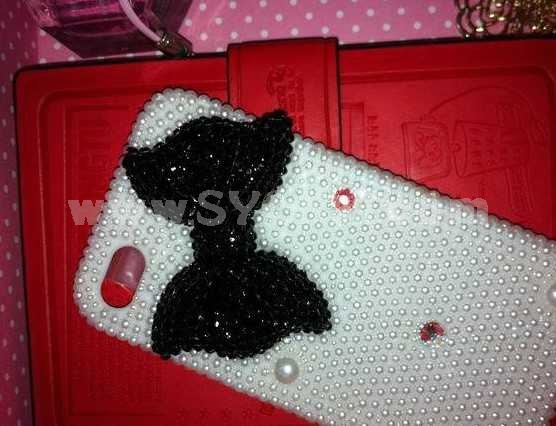 Bowknot Pearl Pattern Handmade Protective Case for iphone4/4s