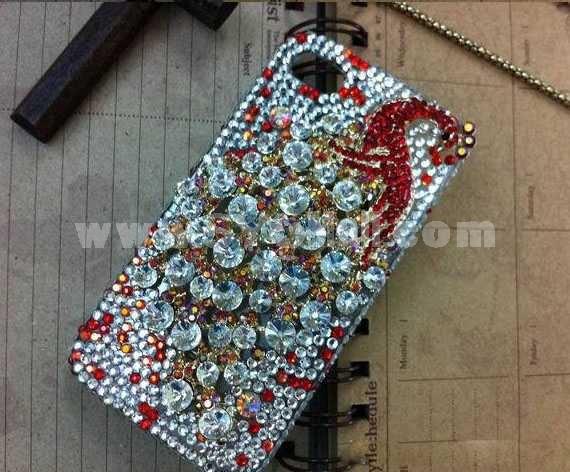 Shiny Peacock Pattern Rhinestone Handmade Protective Case for iphone4/4s