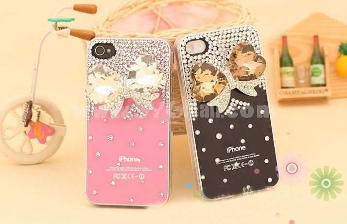 Bowkbot Pattern Rhinestone Handmade Protective Case for iphone4/4s
