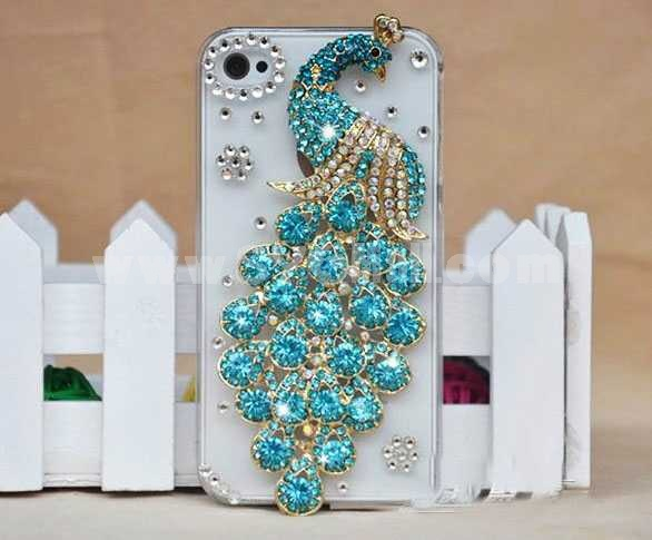 Peacock Pattern Rhinestone Handmade Protective Case for iphone4/4s