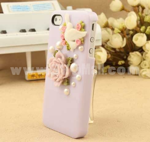Camellia & Pigeon Candy Color Pattern Rhinestone Handmade Protective Case for iphone4/4s