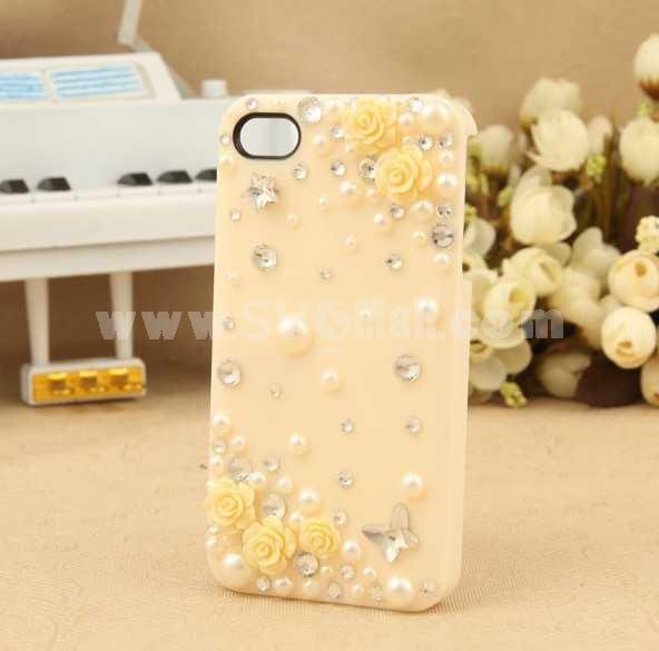 Korea Lovely Pattern Rhinestone Handmade Protective Case for iphone4/4s