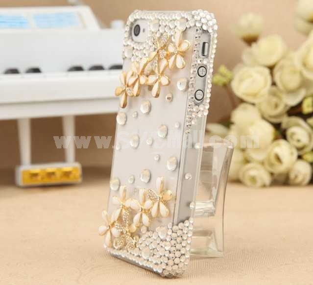 Lovely Flora Candy Color Pattern Rhinestone Handmade Protective Case for iphone4/4s