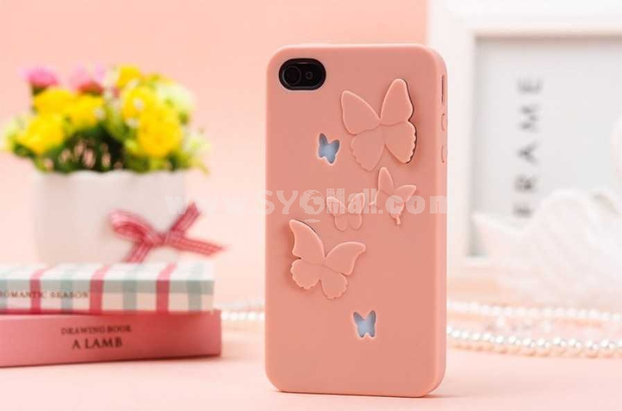 3D Hollowed-Out Heart Butterfly Pattern Frosted Case for iPhone 4/4s