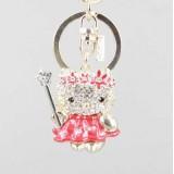 Wholesale - Stylish Hello Kitty Pattern Diamonds Keychain