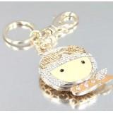 Wholesale - Stylish Big Head Doll Pattern Diamonds Keychain
