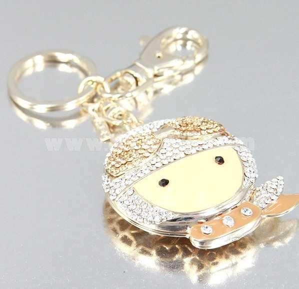 Stylish Big Head Doll Pattern Diamonds Keychain