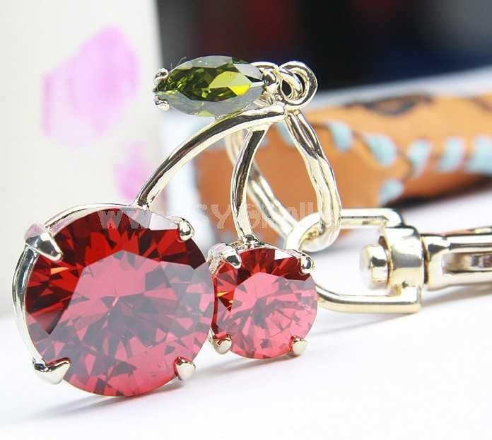 Stylish Cherry Pattern Rhinestone Keychain