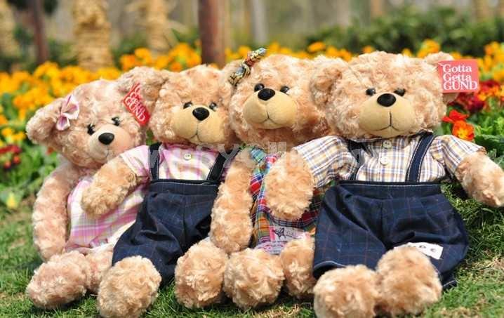 Lovely Cartoon Couple Teddy Bear PP Cotton Stuffed Plush Toys 2PCS