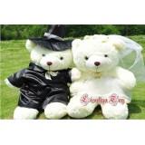 Wholesale - Romantic Couple Bears Wedding Dress PP Cotton Stuffed Animal Plush Toy 2PCS 40CM Tall
