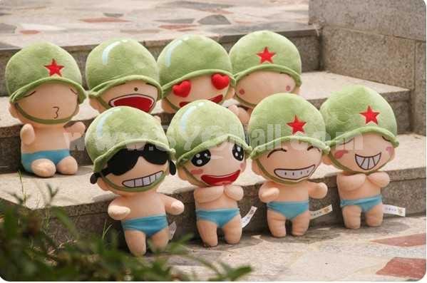 Cute Emotion Cartoon Soilder PP Cotton Stuffed Toys