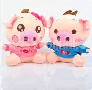 Lovely Cartoon Couple Pigs PP Cotton Stuffed Toys 2PCs