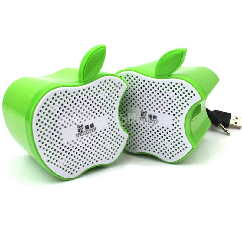 Snowwolf Bitten Apple Style Mini Notebook Speaker (E9125)
