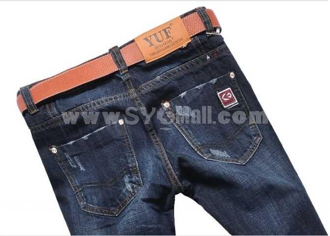 Fashion Dark Blue Winter Straight Mens Jeans 6666