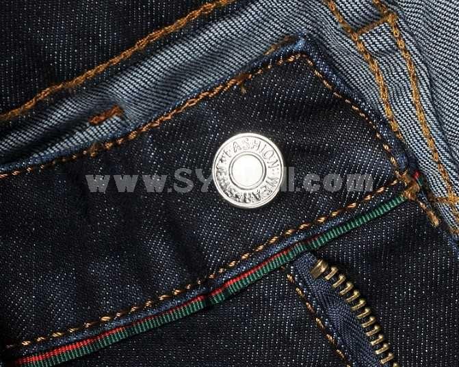 Fashion Dark Blue Winter Straight Mens Jeans 6707