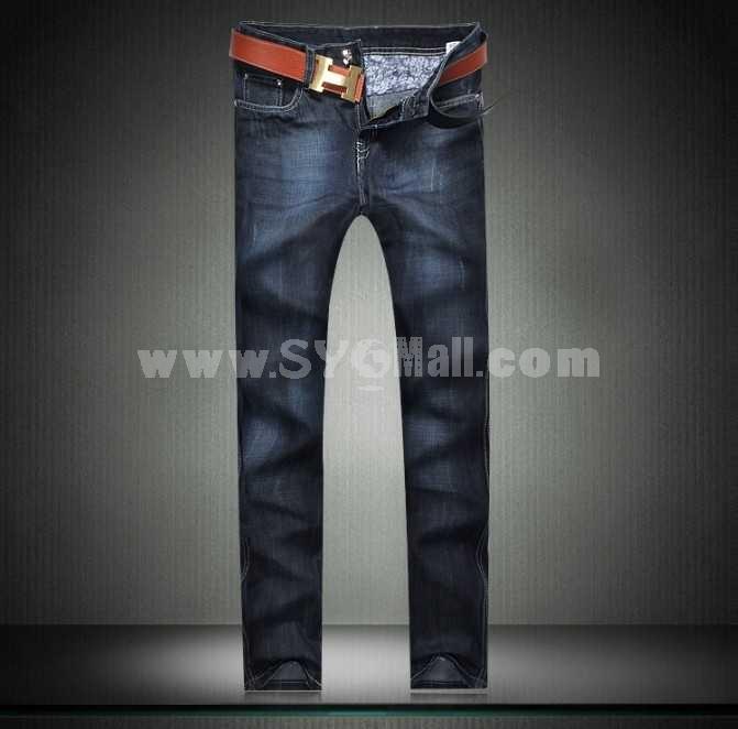Fashion Dark Blue Winter Straight Mens Jeans 6679