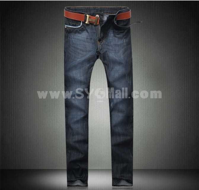 Fashion Dark Blue Winter Straight Mens Jeans 6680