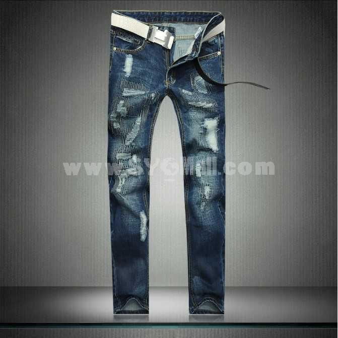 Fashion Dark Blue Winter Straight Mens Jeans 6619