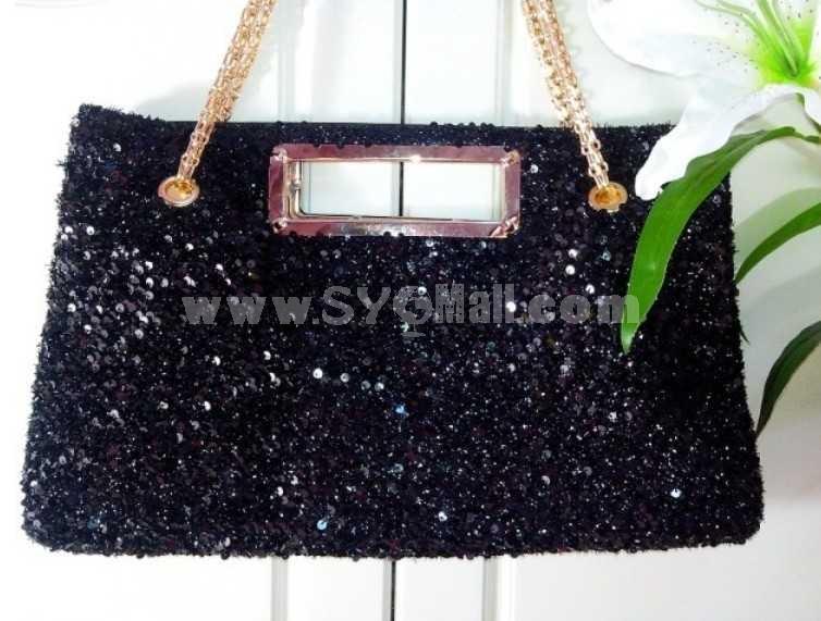 Spring Black Paillete Sigle-Shoulder Bag
