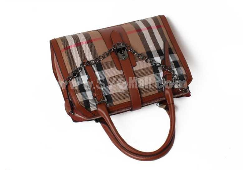 Vintage London Style Grid Stripe Single-Shoulder Bag