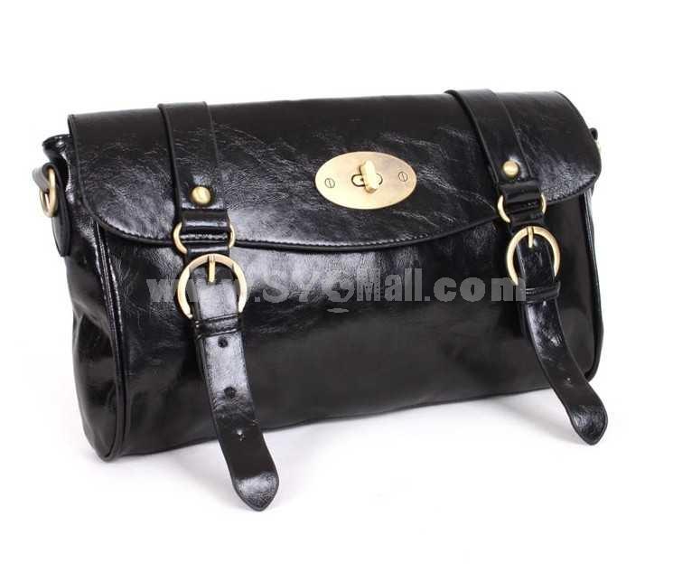 Vintage Style Black Postman Single-Shoulder Bag