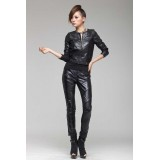 Wholesale - Women's Sheepskin Round Collar Slim Shirt D1337