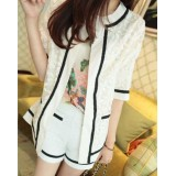 Wholesale - White Crochet Style Half-Sleeve Coat with Fine Lace(W316)