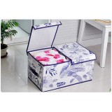 Wholesale - Classic Non-woven Fabrics Blue and White Porcelain Series Two Individual Flips Sweater Storage Box
