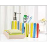 Wholesale - Simple Pattern Stripe Style Ceramic Bath Accessory Set 4Pcs