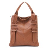 Wholesale - Retro Simple Pattern Buckle Decor PU Soild Color Handbag Shoulder Bag